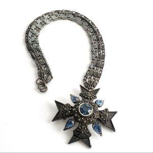 Vintage Selro Selini Maltese Cross Necklace Blue